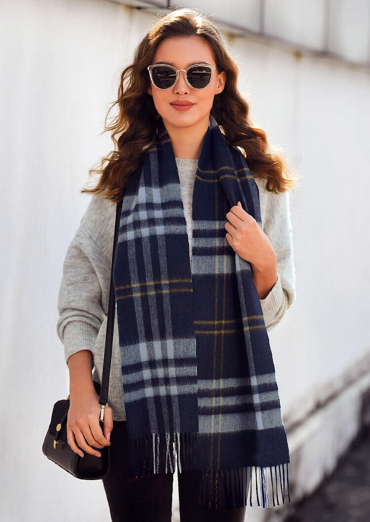 Scarves Feelily Unisex Plaid Tartan Tassel Pashmina Scarf For Christmas Gift in Navy Blue. Size: One Size фото