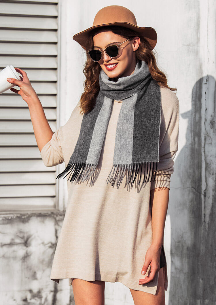 Scarves Feelily Unisex Christmas Gift Striped Tassel Lambswool Scarf in Gray. Size: One Size фото