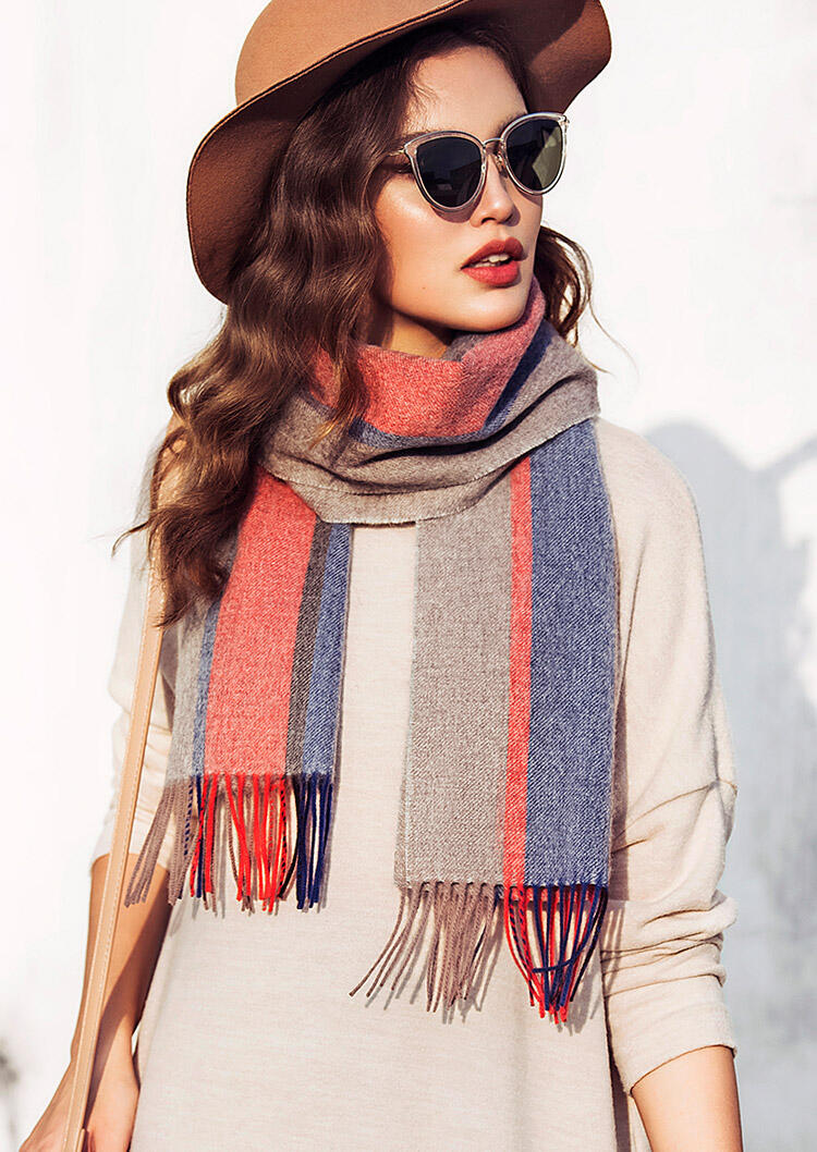 Feelily Christmas Gift Color Block Striped Tassel Pashmina Scarf фото