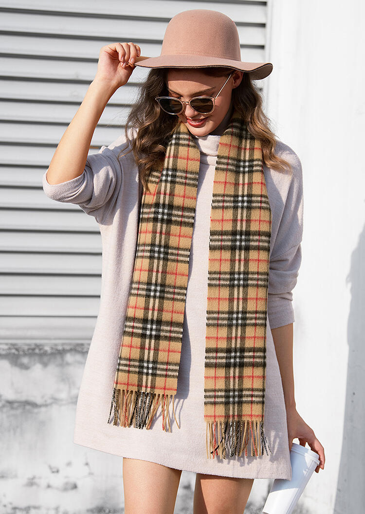 Scarves Feelily Unisex Christmas Gift Plaid Tartan Tassel Lambswool Scarf in Camel. Size: One Size фото