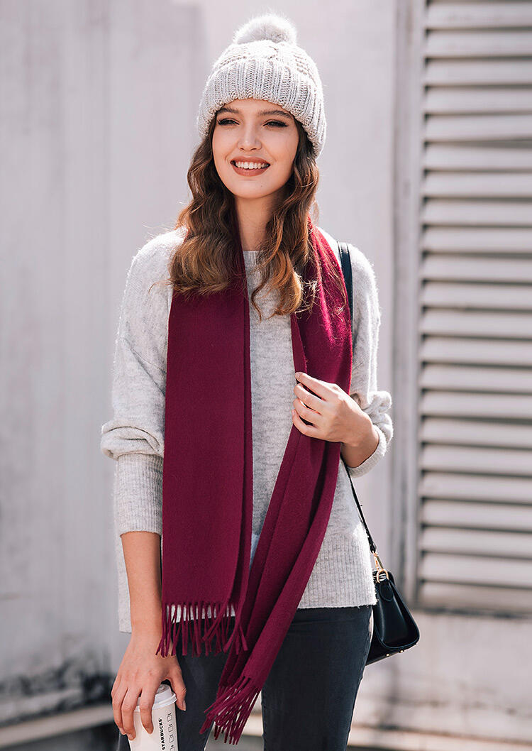 Feelily Classic Burgundy Tassel Cashmere Scarf For Women Christmas Gift фото