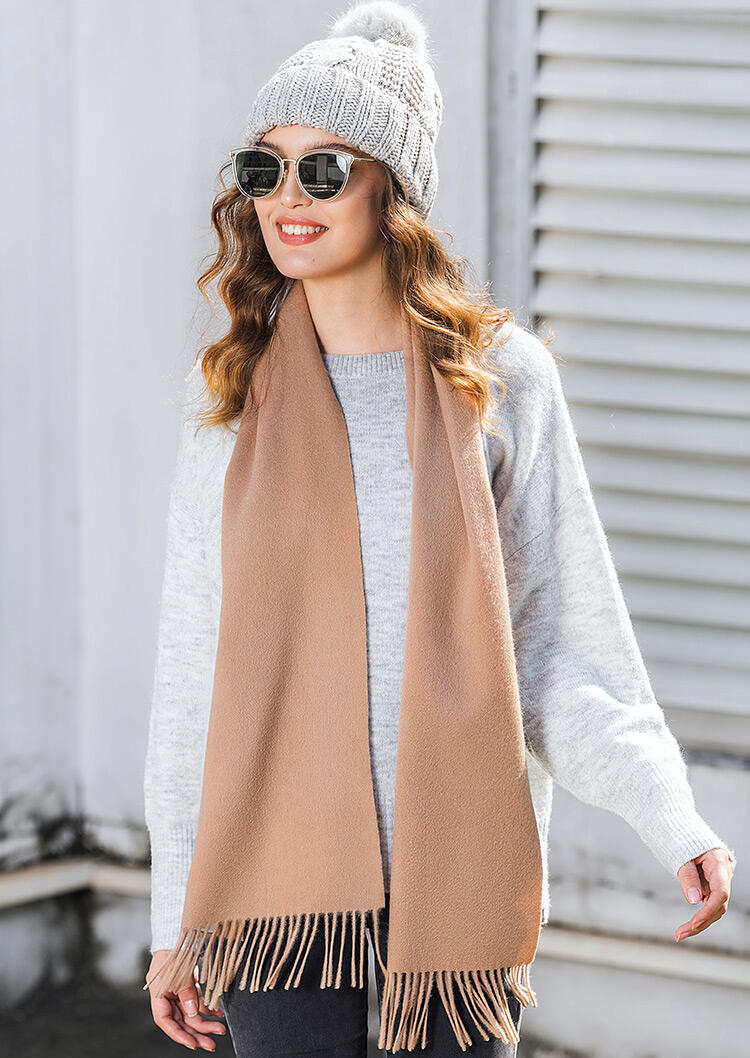 Feelily Classic Camel Tassel Cashmere Scarf For Women Christmas Gift фото