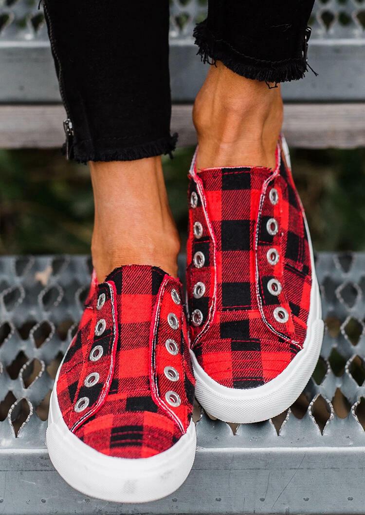 Plaid Slip-On Round Toe Flat Sneakers фото