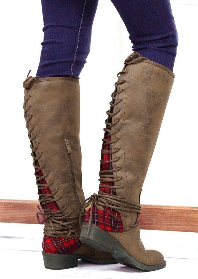 Boots Plaid Splicing Lace Up Zipper Knee-High Boots in Brown. Size: 37,38,39,41 фото