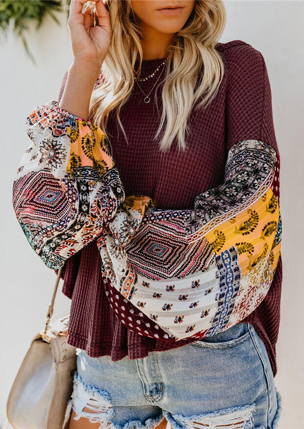 Geometric Printed Splicing Blouse without Necklace – Burgundy
