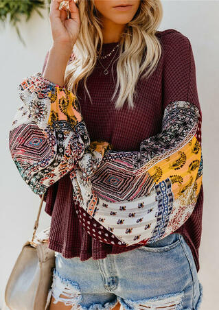 Geometric Printed Splicing Blouse without Necklace - Burgundy