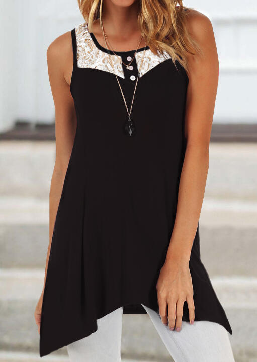 Lace Splicing Irregular Tank without Necklace - Black фото