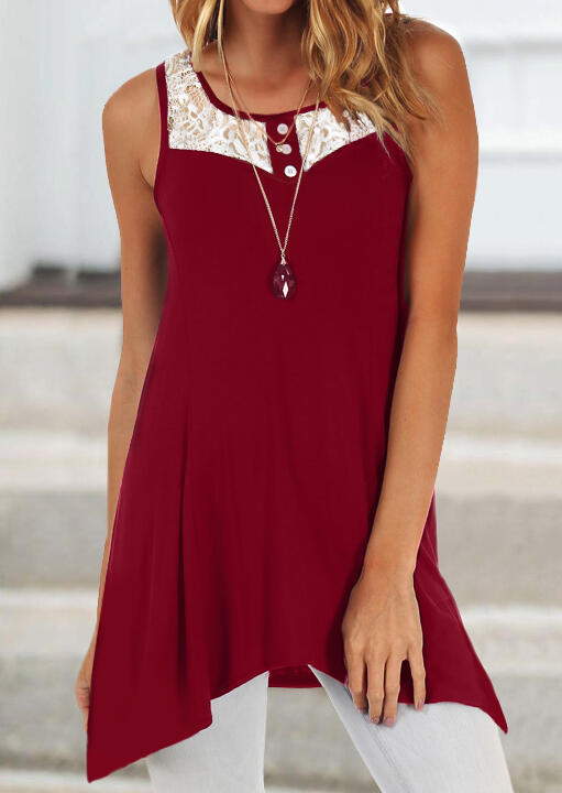 Lace Splicing Irregular Tank without Necklace - Burgundy фото