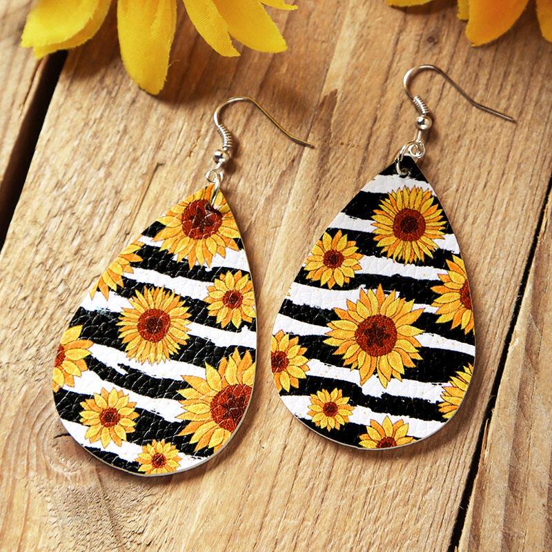 Earrings Sunflower Striped PU Leather Earrings in #1. Size: One Size фото