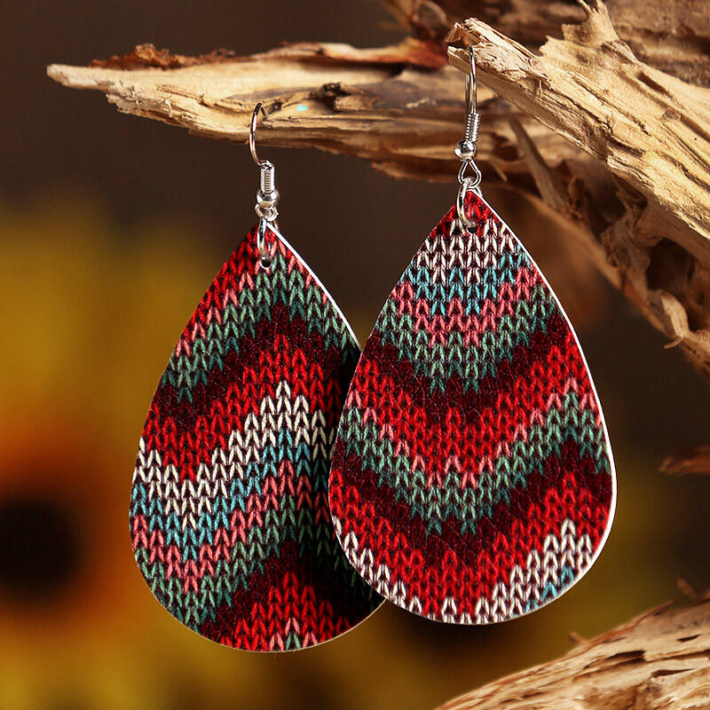 Colourful Striped Water Drop Shaped Bohemian Leather Earrings фото