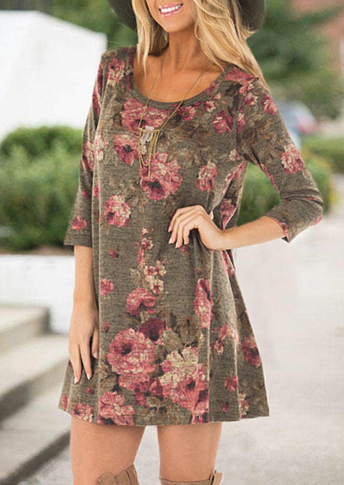 Floral Three Quarter Sleeve Mini Dress without Necklace - Coffee фото
