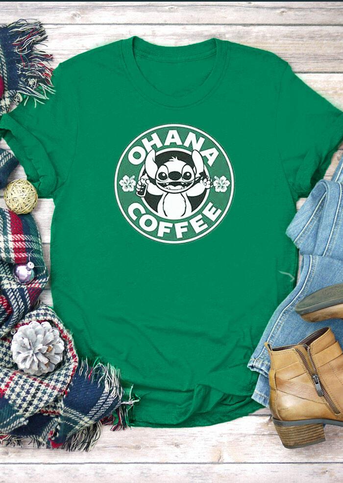 Ohana Coffee O-Neck T-Shirt Tee – Green