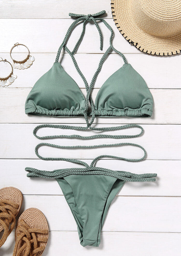 Criss-Cross Tie Halter Bikini Set