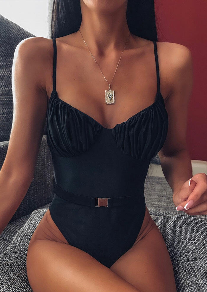 Ruffled Spaghetti Strap One-Piece Swimsuit without Necklace - Black фото