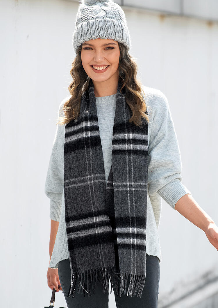 Scarves Feelily Classic Gray Plaid Tartan Tassel Pashmina Scarf With Gift Bag in Dark Grey. Size: One Size фото