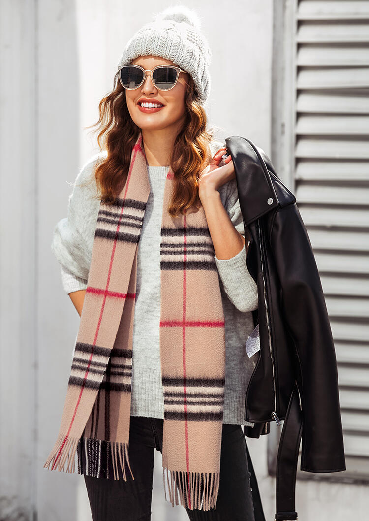 Scarves Feelily Unisex Plaid Tartan Tassel Pashmina Scarf With Gift Bag in Apricot. Size: One Size фото