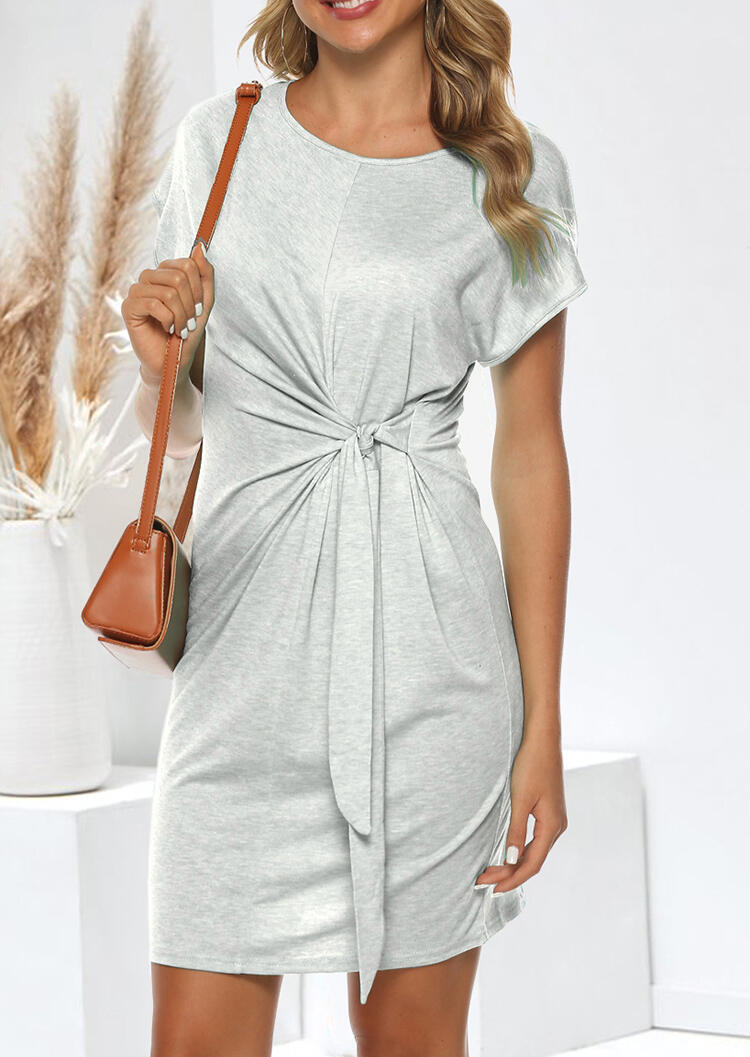 Twist Tie O-Neck Mini Dress - Gray фото