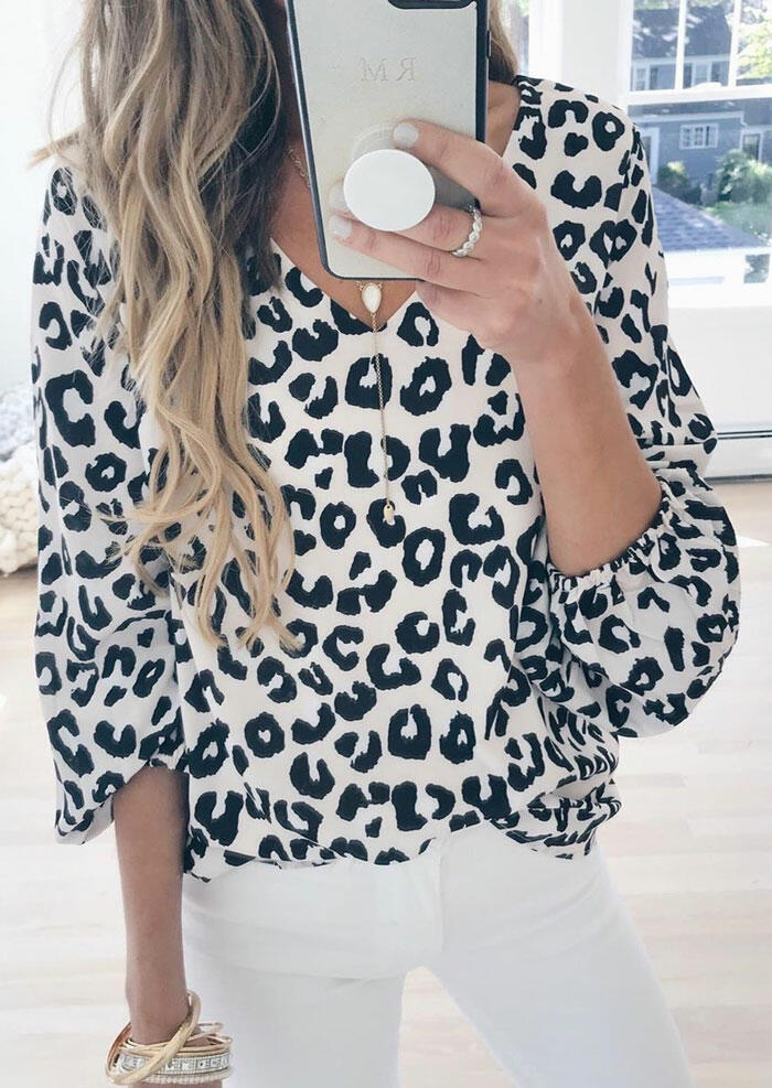 Cow Printed V-Neck Blouse without Necklace - White фото
