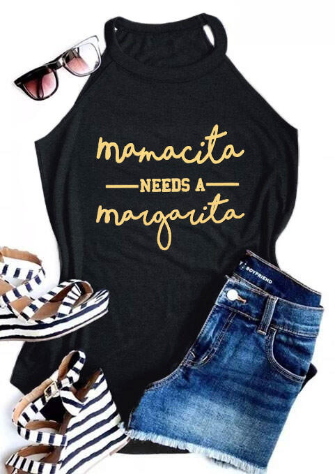 Mamacita Needs A Margarita Tank Top in Black. Size: S,M,L,XL фото