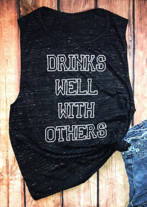 Tank Tops Drinks Well With Others O-Neck Tank in Black. Size: S фото