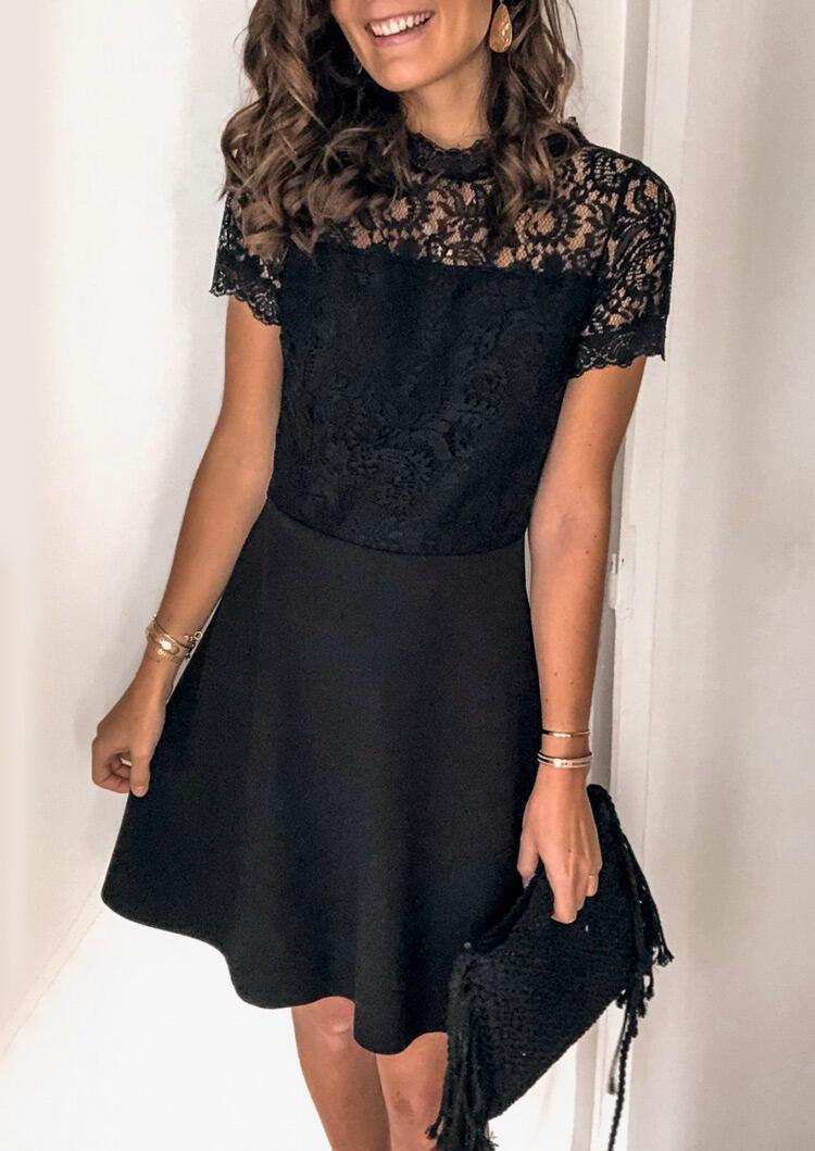 Lace Splicing Open Back Mini Dress - Black фото