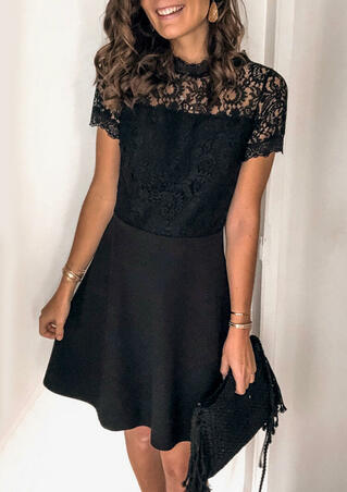 Lace Splicing Open Back Mini Dress - Black
