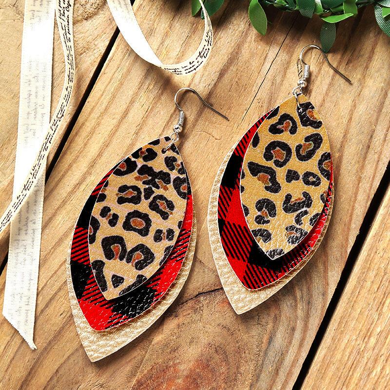Plaid Leopard Printed Three-Layered Earrings
