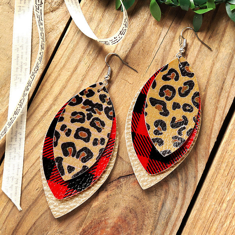 Earrings Plaid Leopard Printed Three-Layered Earrings in Multicolor. Size: One Size фото
