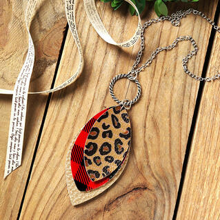 Plaid Leopard Printed Three-Layered Necklace
