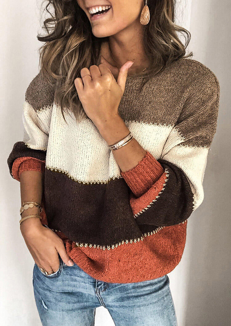 Sweaters Color Block Splicing Sweater without Necklace in Orange. Size: S,M,L,XL фото