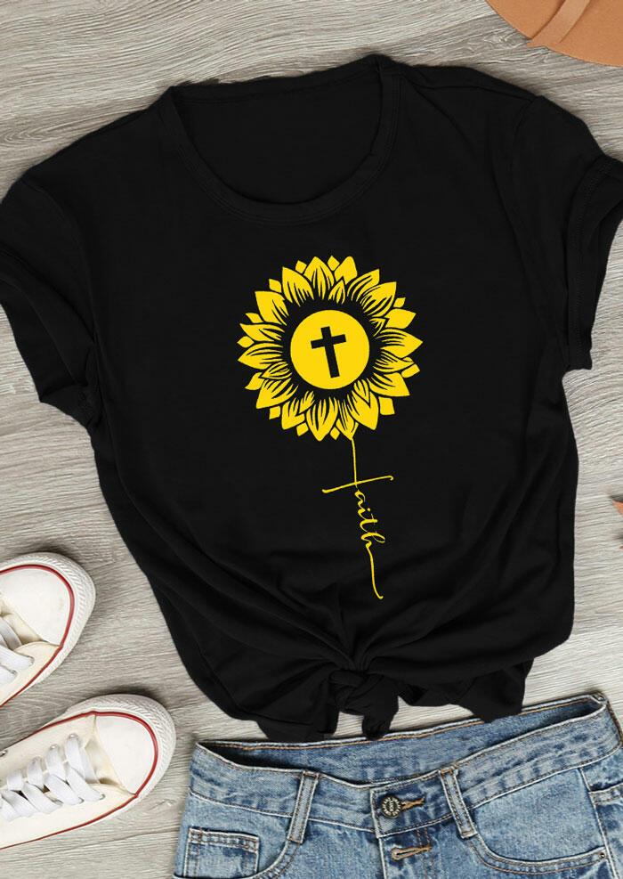 Sunflower Faith Cross O-Neck T-Shirt Tee - Black фото