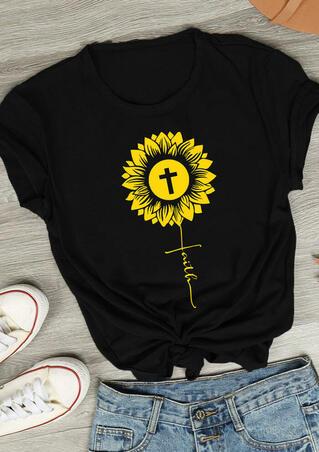 Sunflower Faith Cross O-Neck T-Shirt Tee - Black