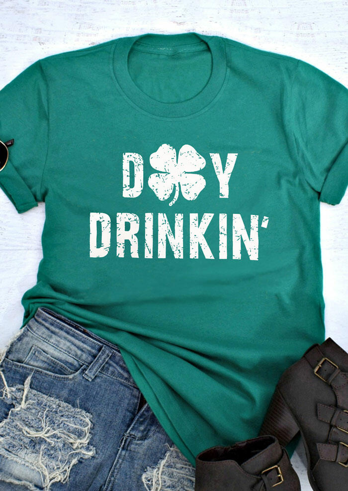 Tees T-shirts St. Patrick's Day Lucky Shamrock Day Drinkin' T-Shirt Tee in Green. Size: S,M,L,XL фото