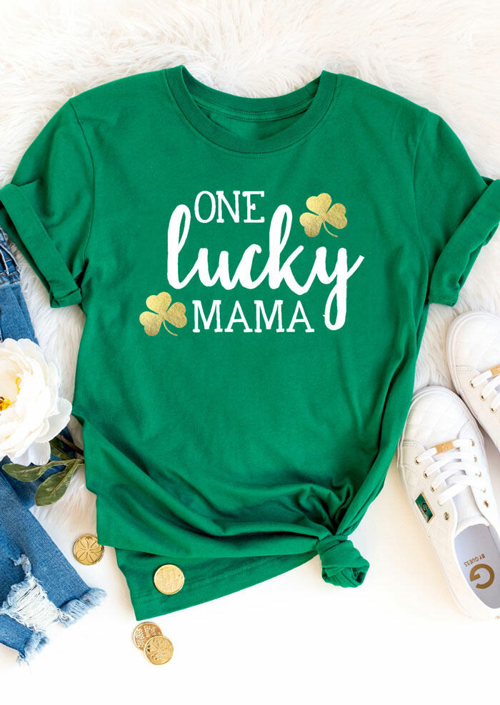 One Lucky Mama Shamrock T-Shirt Tee in Green. Size: S,M,L,XL фото