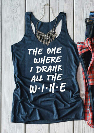 The One Where I Drank All The Wine Tank without Necklace - Blue
