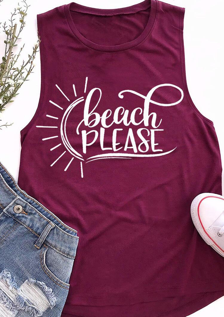 Beach Please O-Neck Casual Tank - Purple фото