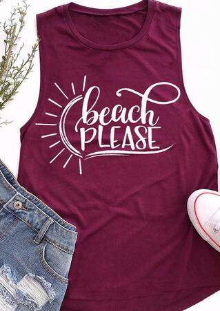 Beach Please O-Neck Casual Tank - Purple