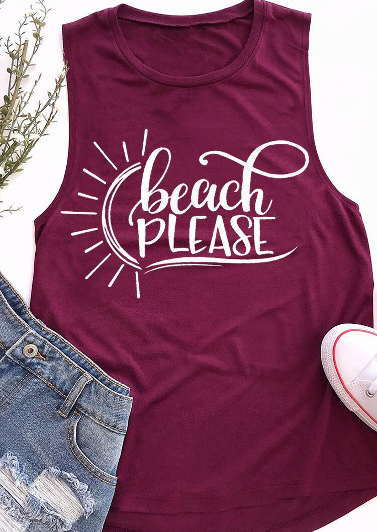 Tank Tops Beach Please O-Neck Casual Tank in Purple. Size: S,M,L фото