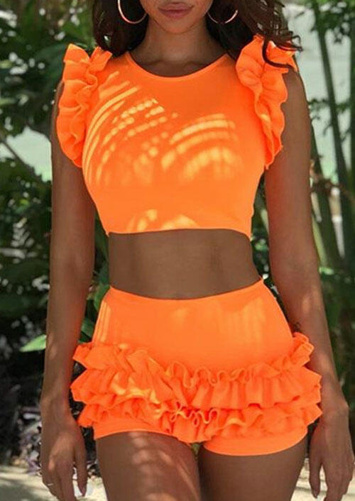 Somen's Swim Crop Top and Shorts Fashion Ruffled Tankini in Orange. Size: S,M,L,XL фото