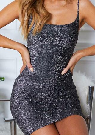 Lace Up Open Back Spaghetti Strap Bodycon Dress - Black