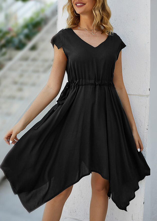 Irregular Drawstring Casual Dress without Necklace - Black фото