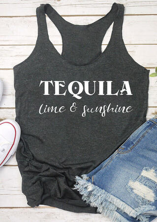 Tequila Lime & Sunshine Tank - Dark Grey