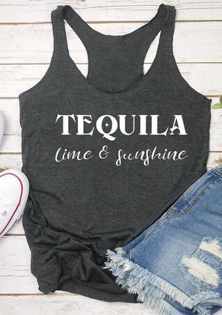 Tequila Lime & Sunshine Tank - Dark Grey