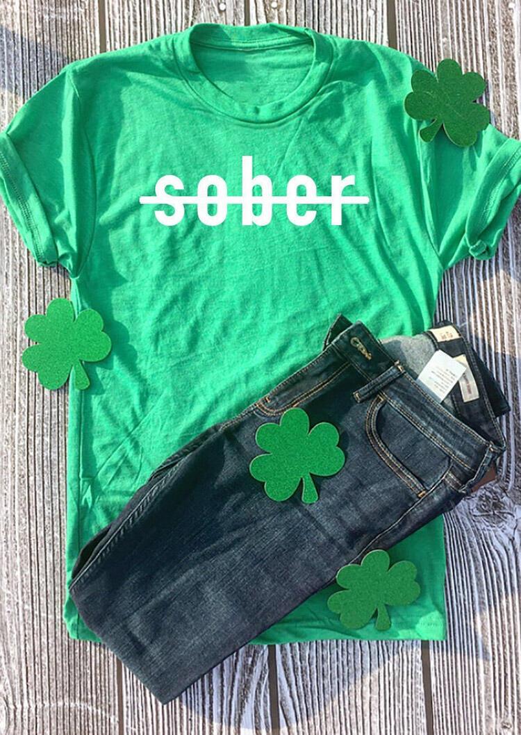 St. Patrick's Day Sober T-Shirt Tee - Green фото
