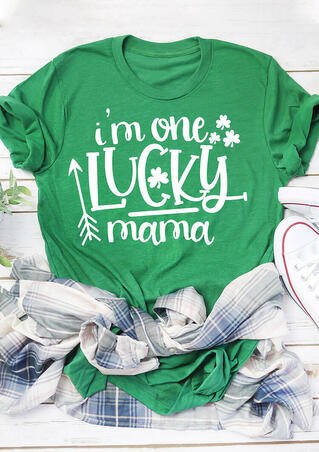 St. Patrick's Day Shamrock I'm One Lucky Mama T-Shirt Tee - Green