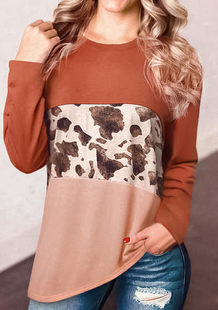 Cow Leopard Printed Splicing Color Block Long Sleeve T-Shirt Tee - Brick Red