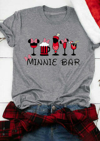Plaid Printed Splicing Drink Bar T-Shirt Tee - Gray