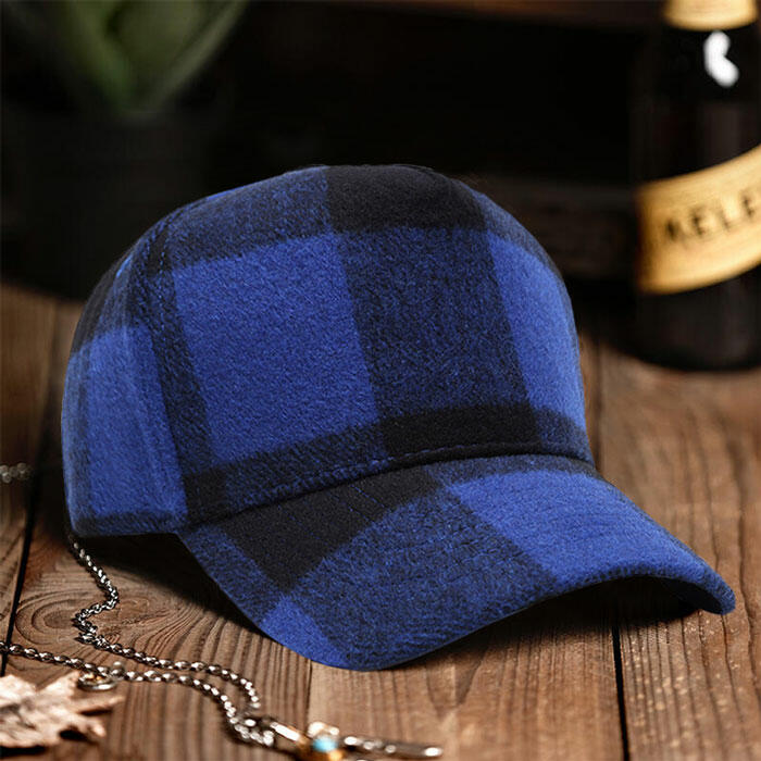 Blue and Black Plaid Adjustable Buckle Strap Baseball Cap Hat in Blue. Size: One Size фото