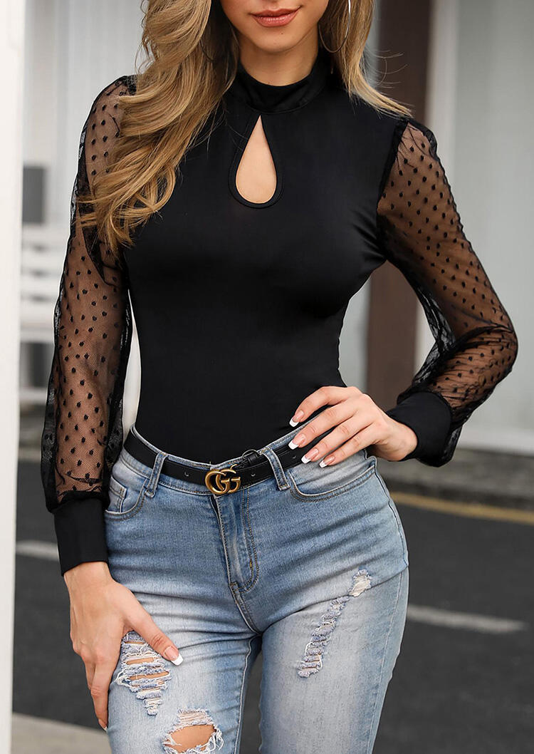 Mesh Splicing Hollow Out Blouse – Black