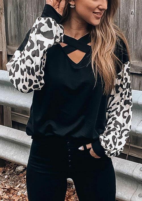 Leopard Printed Splicing Criss-Cross Blouse – Black